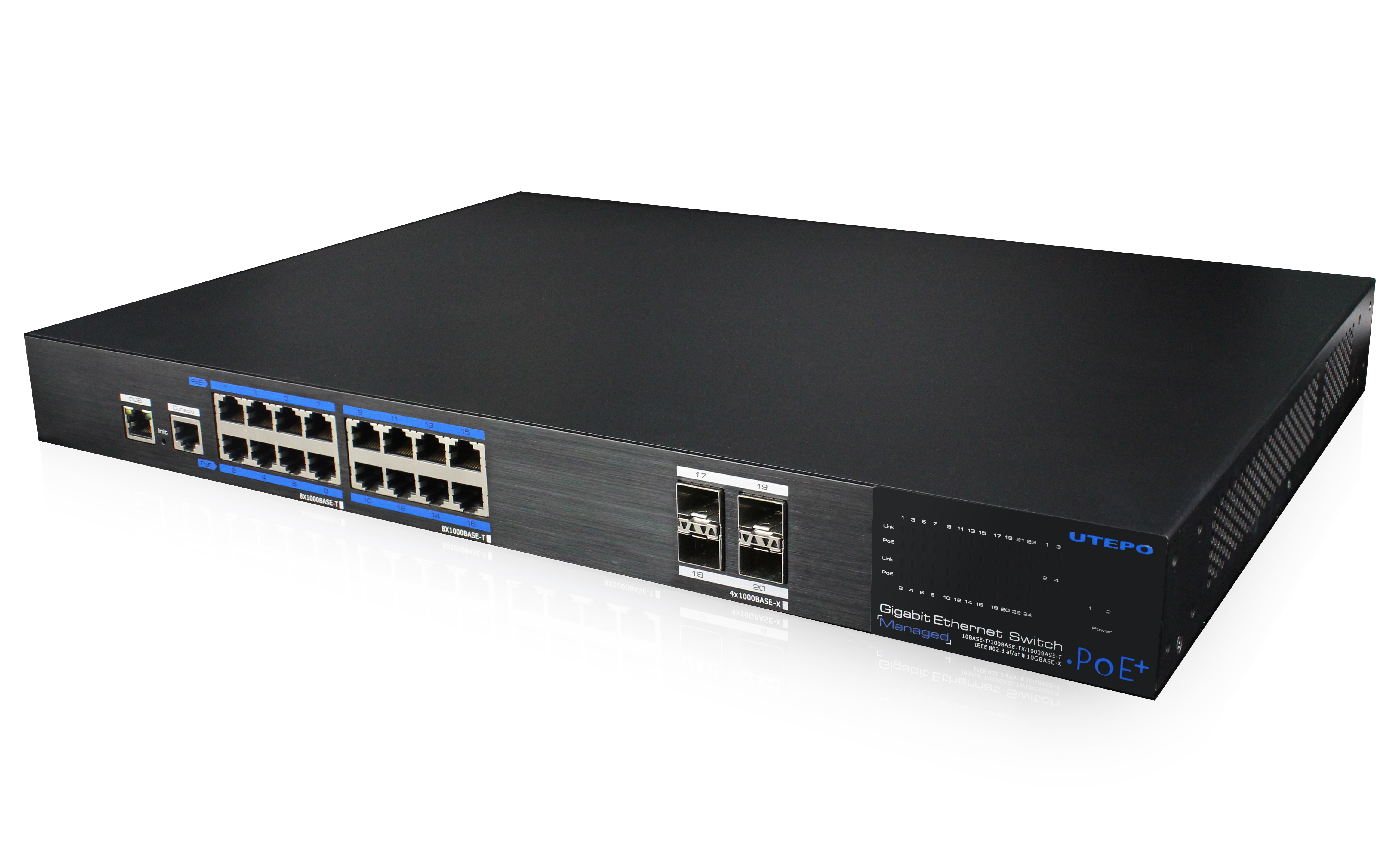 16 Gigabit PoE Ports  Managed Ethernet Switch